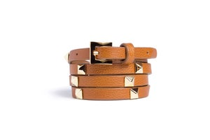 Image of Safari Leather Beltlett with Gold Pyramid Studs