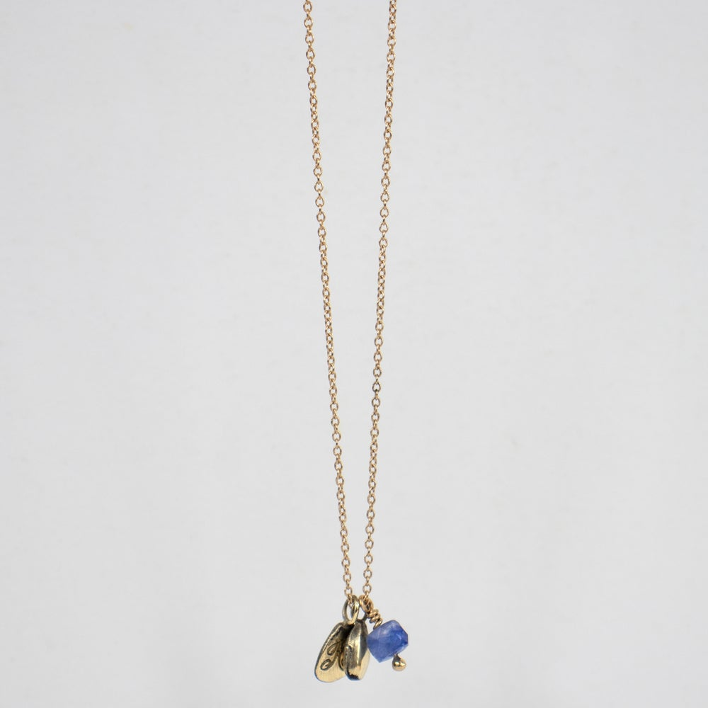 Image of 14k Gold Seed & Kria Tag Necklace w/ Blue Sapphire Bead