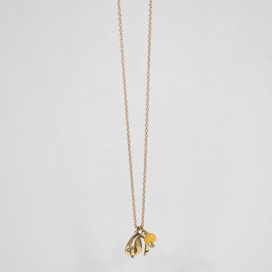 Image of 14k Gold Branch Horseshoe & Kria Tag Necklace w/ Yellow Sapphire Bead