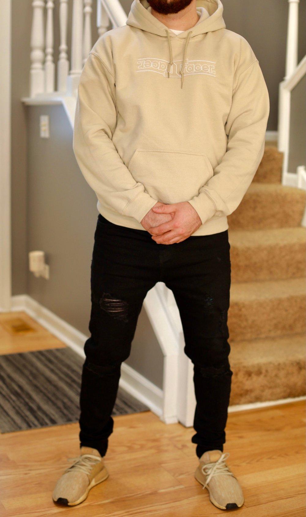 Embroidered flip hoodie
