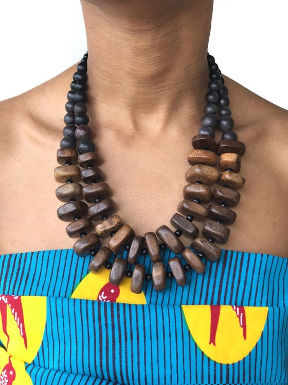 Image of Collier perles de bois