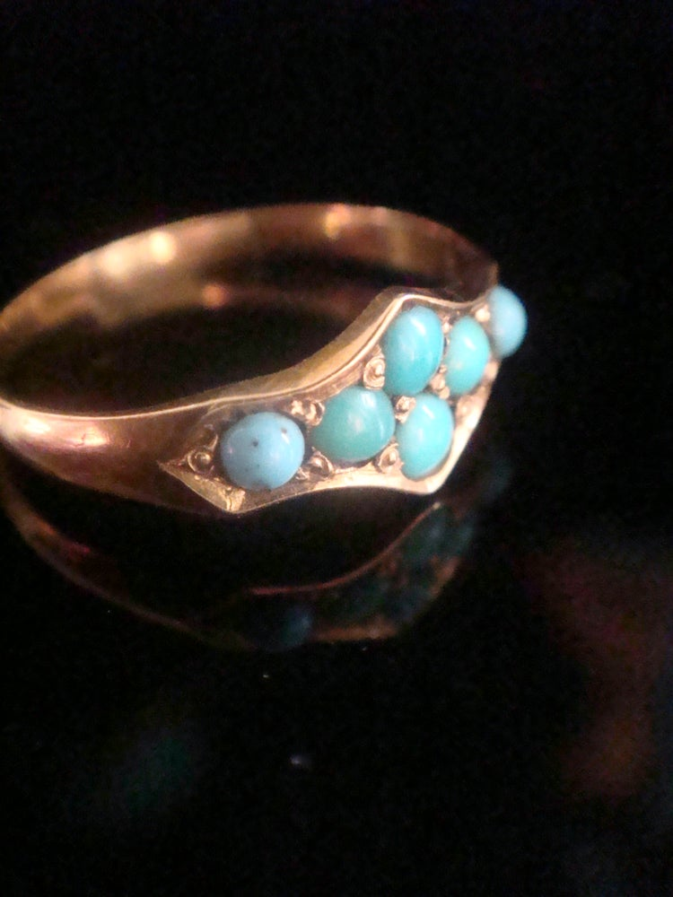 Image of Victorian 18ct natural turquoise set ring