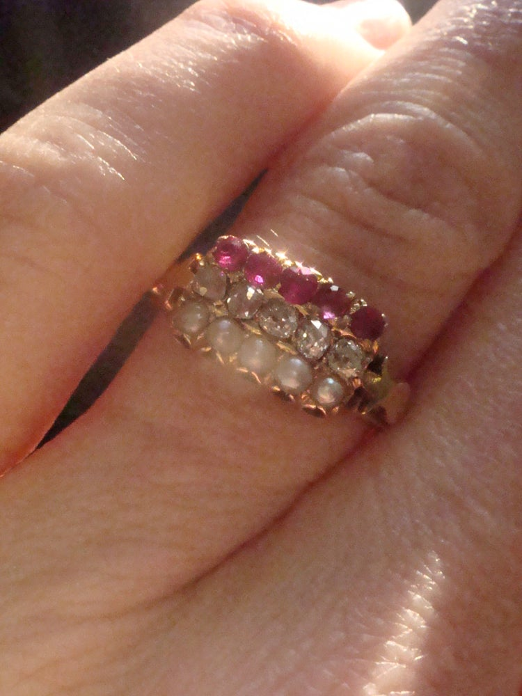 Image of Victorian 18ct Natural Ruby old cut diamond natural seed pearl stacking ring