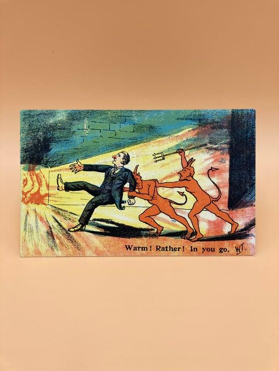 Image of Framed vintage devil postcard