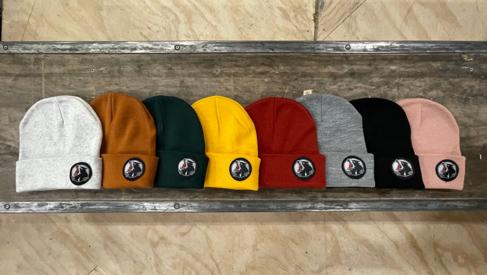 Image of Patched embroidered beanies