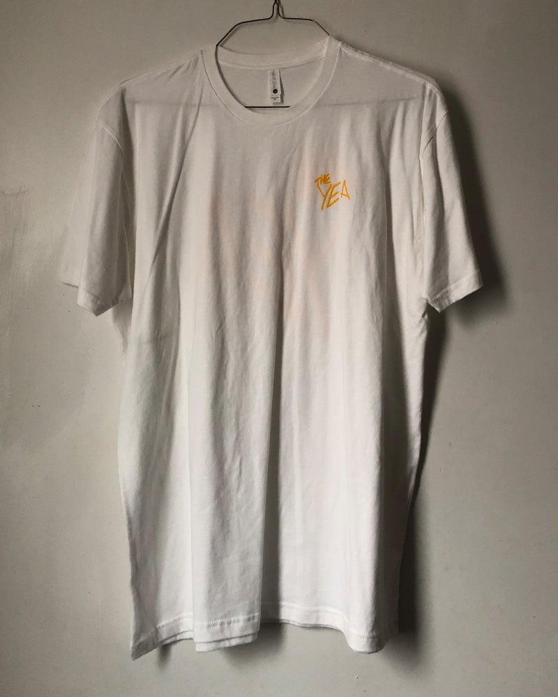 Image of Yella on White Tee