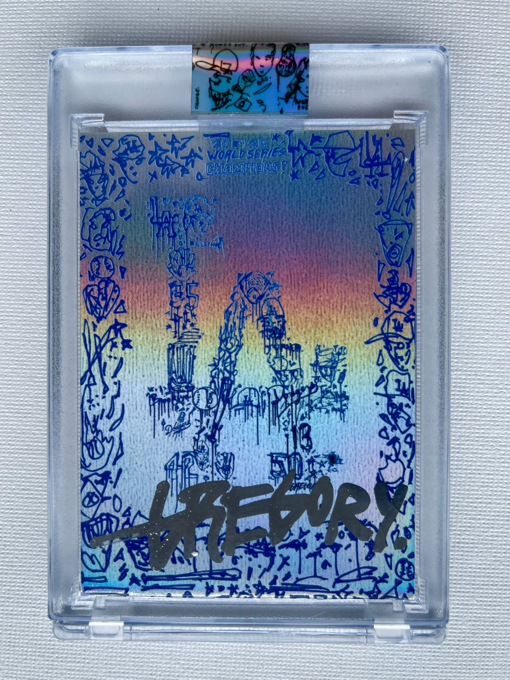 CHROME RAINBOW FOIL LA DODGERS WORLD SERIES Topps X Gregory Siff Artist Autograph