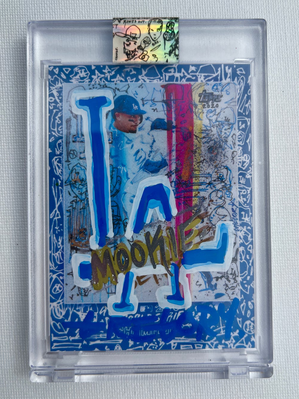 DODGERS BLUE MOOKIE BETTS WORLD SERIES Topps X Gregory Siff Artist Autograph