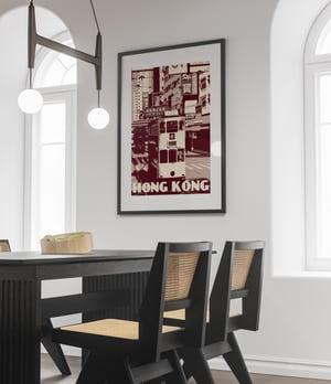 Image of Vintage poster Hong Kong - Tramway - Ding Ding - Purple - Fine Art Print