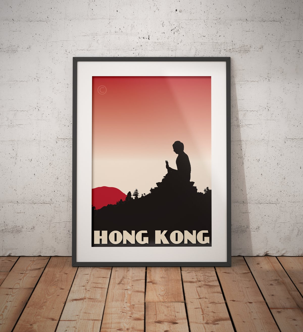 Image of Vintage poster Hong Kong - Tian Tan Buddha - Red - Fine Art Print