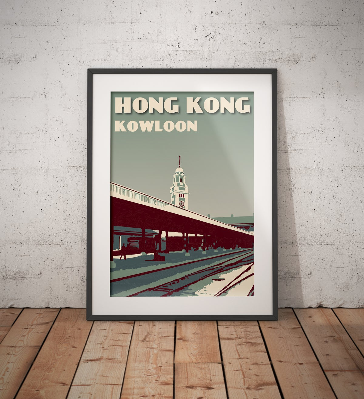 Image of Vintage poster Hong Kong - Kowloon Station - Fine Art Print