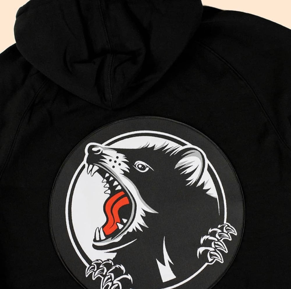 Image of Embroidered patched hood