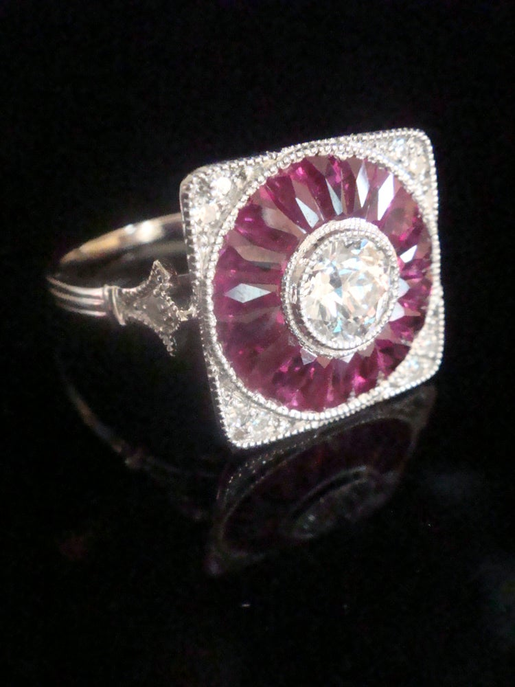Image of 18ct white gold natural ruby and diamond deco inspired target cluster ring