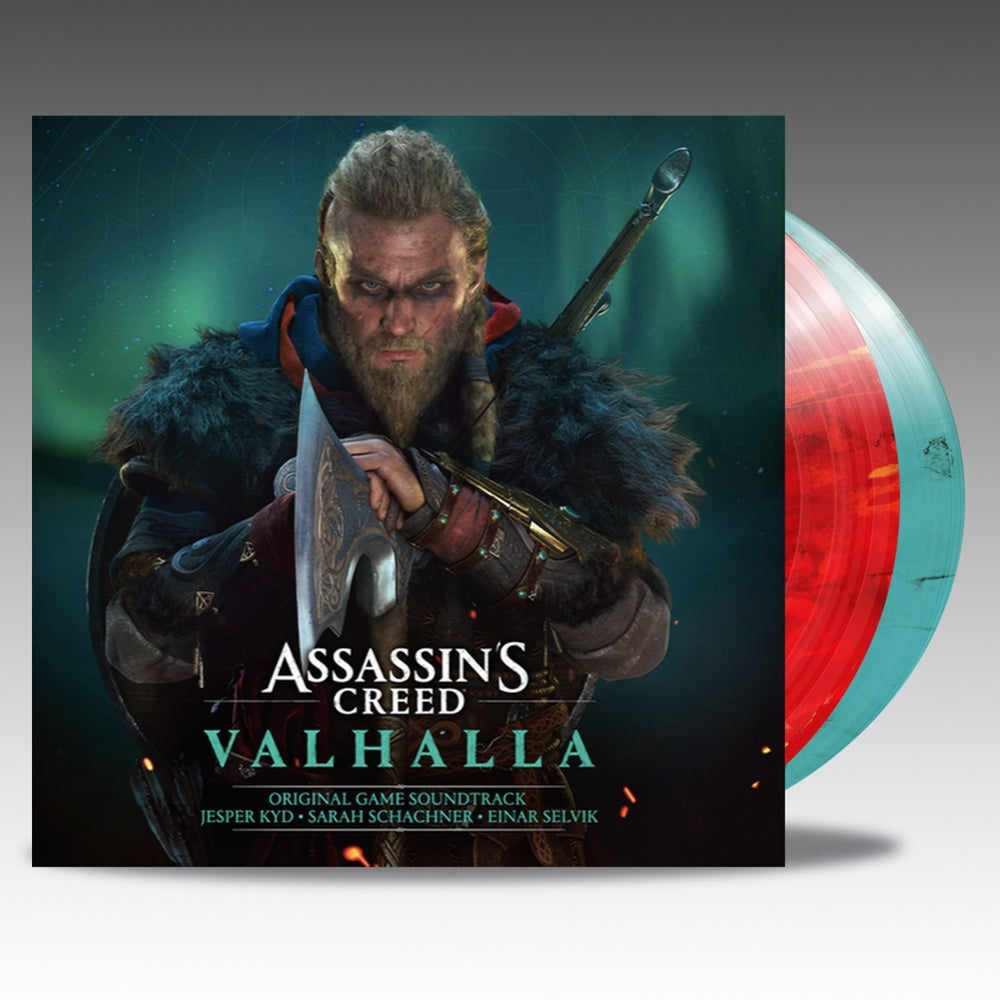 Image of Assassin's Creed Valhalla (Original Game Soundtrack) - Red W /Yellow Splatter & Teal W /Black Smoke