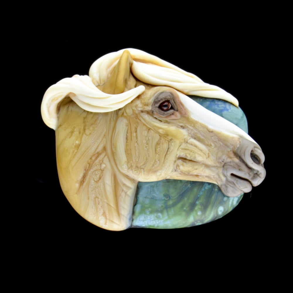 Image of XL. Cicero - Palomino Stallion - FLamework Glass Sculpture Bead