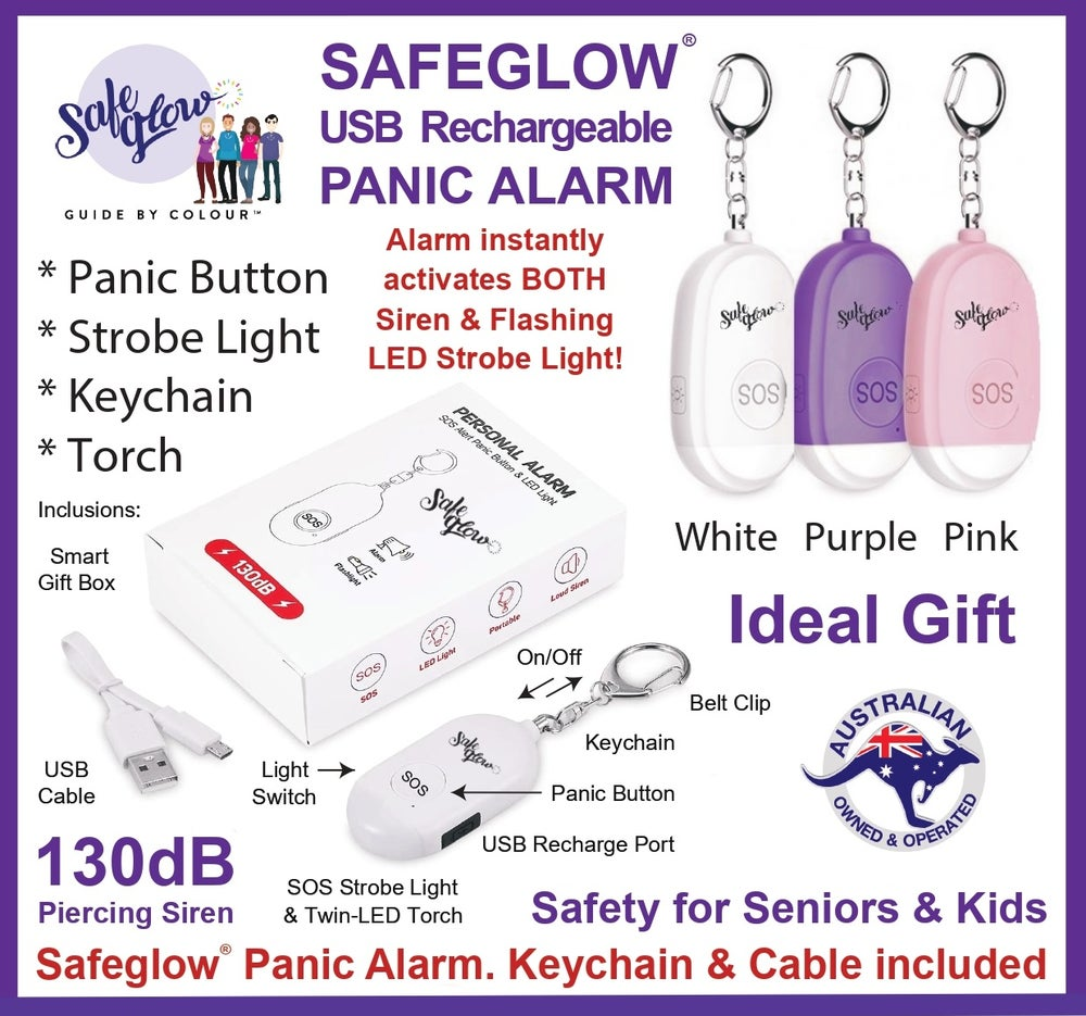 Image of Safeglow USB Rechargeable Panic Alarm & LED Flashlight