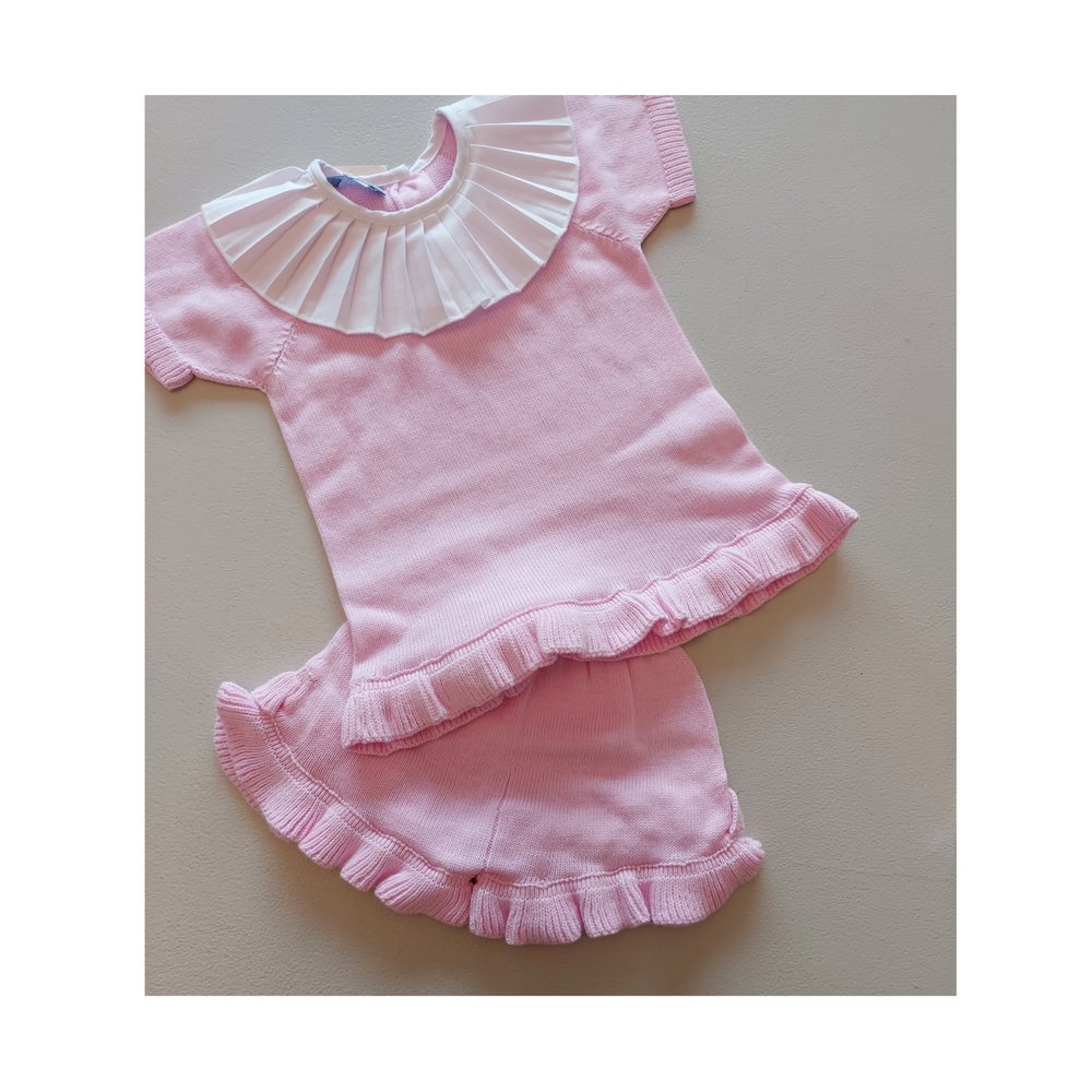 Image of Pink Collared Shorts Set