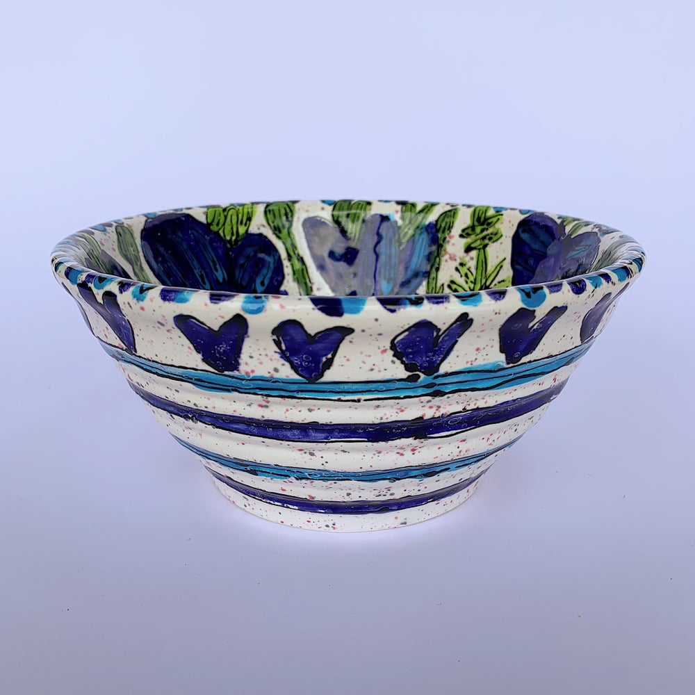 Image of Blue poppy on Mottled Glaze Rimmed Salad Bowl - RSB01