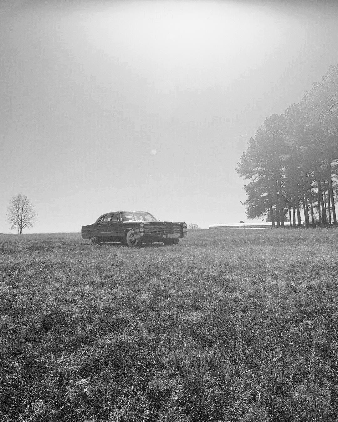 Car in farm field