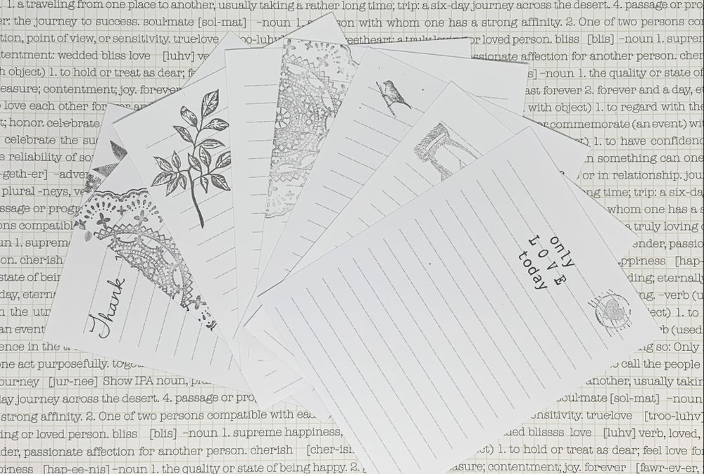 Image of hand stamped note card set