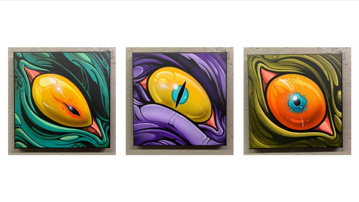 "Image of ""9 Eyes: Round 2"" Series - 10x10 paintings"