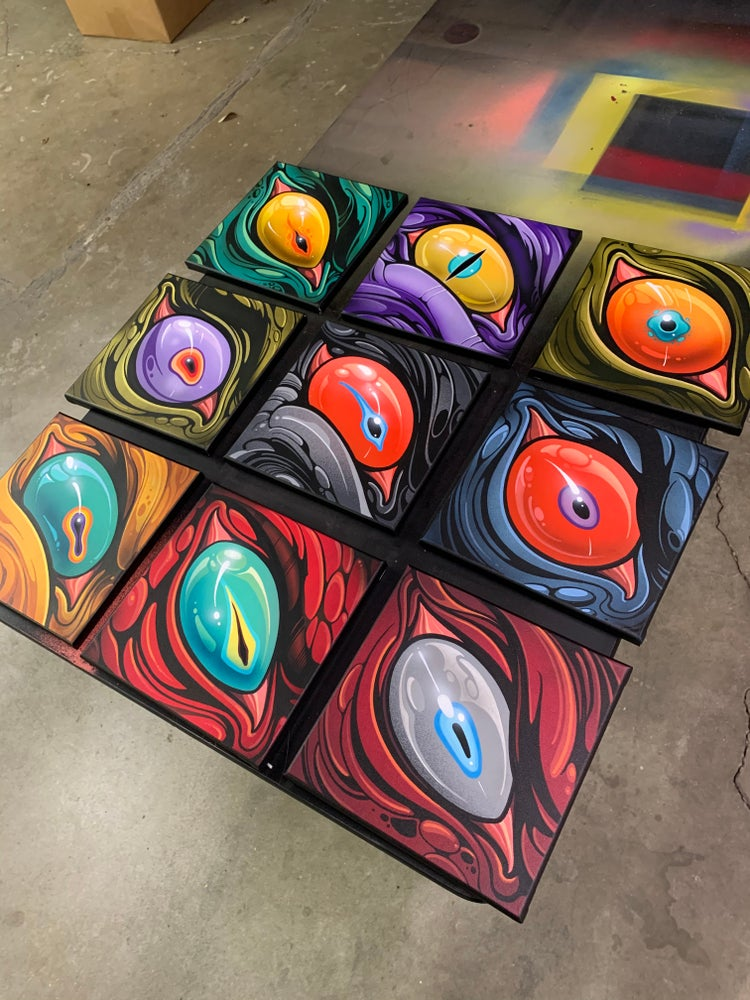 "Image of ""9 Eyes: Round 2"" Series - 10x10 paintings"
