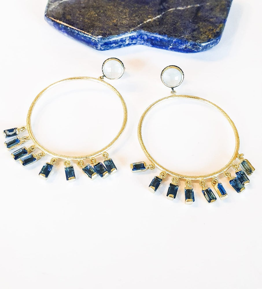 Image of Blue Chalcedony and Iolite Gold Hoop Earrings