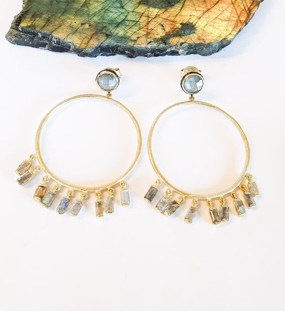 Image of Labradorite Fringe Gold Hoop Earrings