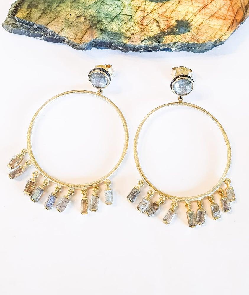 Image of Labradorite Fringe Gold Hoop Earrings