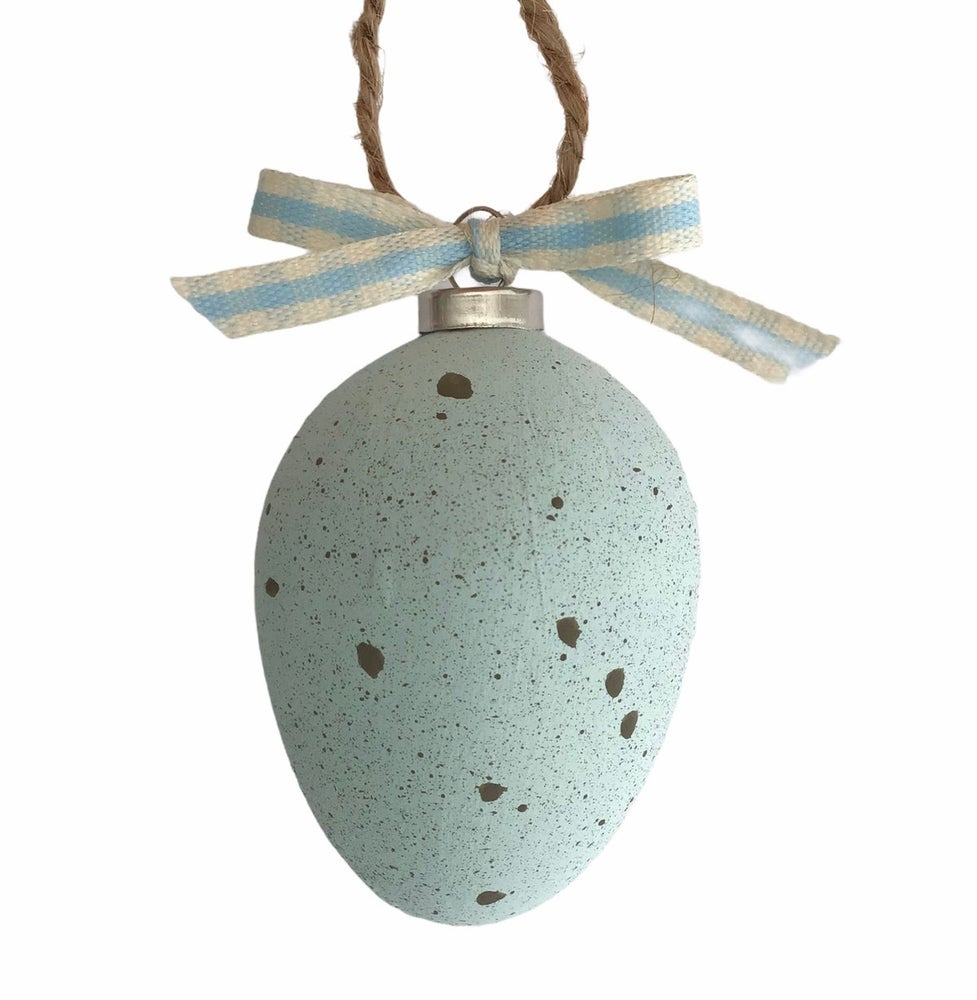 Image of Blue Hand Painted Ceramic Egg
