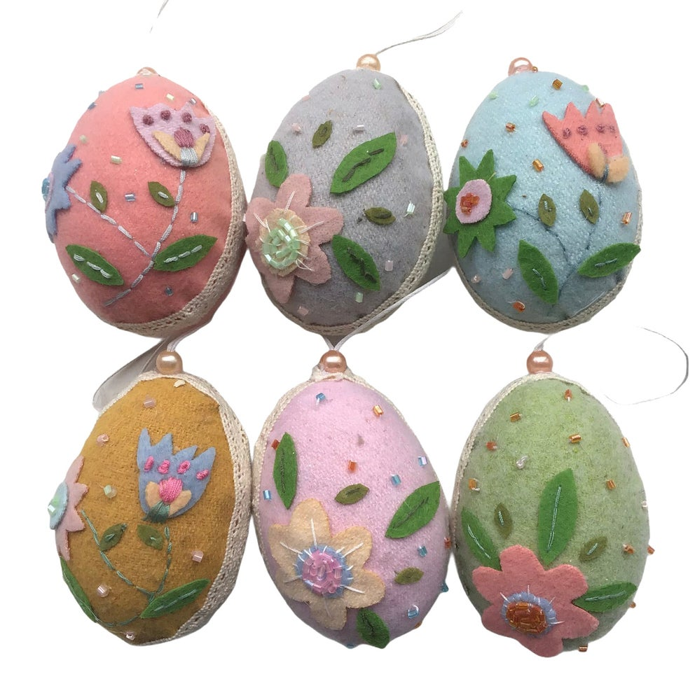 Image of Gisela Graham Wool Felt Hanging Easter Eggs