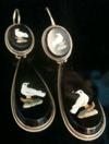 Stunning Victorian Italian Micro mosaic 15ct 18ct yellow gold dove earrings