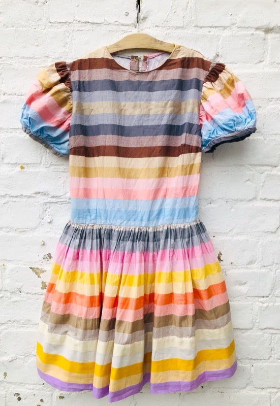 Image of Handmade dress in delicious ice cream stripes. Age 10-11yrs.