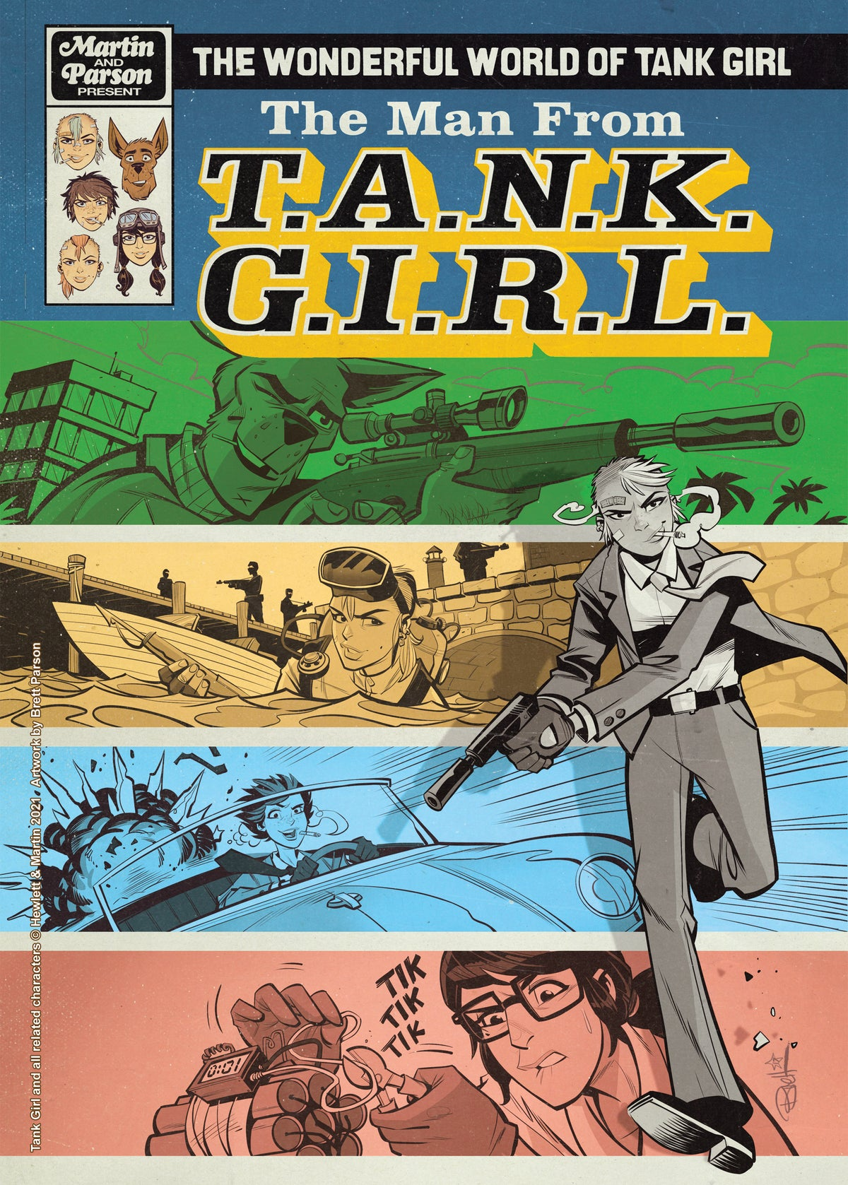 Image of TANK GIRL GOLD SCREEN PRINTED JAMIE HEWLETT BACK PATCH (with prints and trade card!)