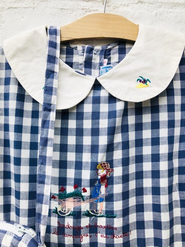 Image of Blue and white, cotton checked dress with embroidery and bag. Age 6-7yrs.