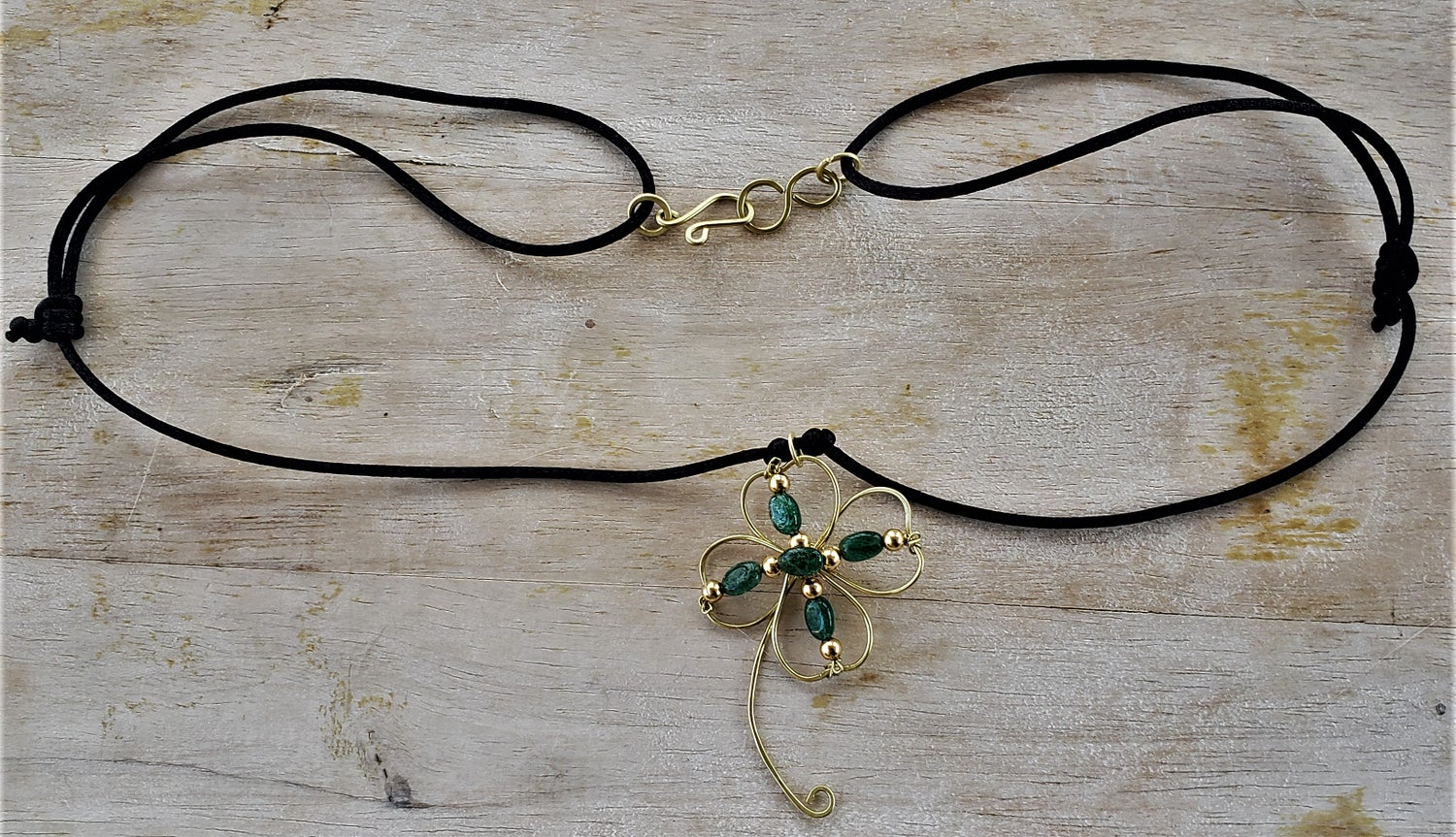 Image of Green aventurine four-leaf clover necklace