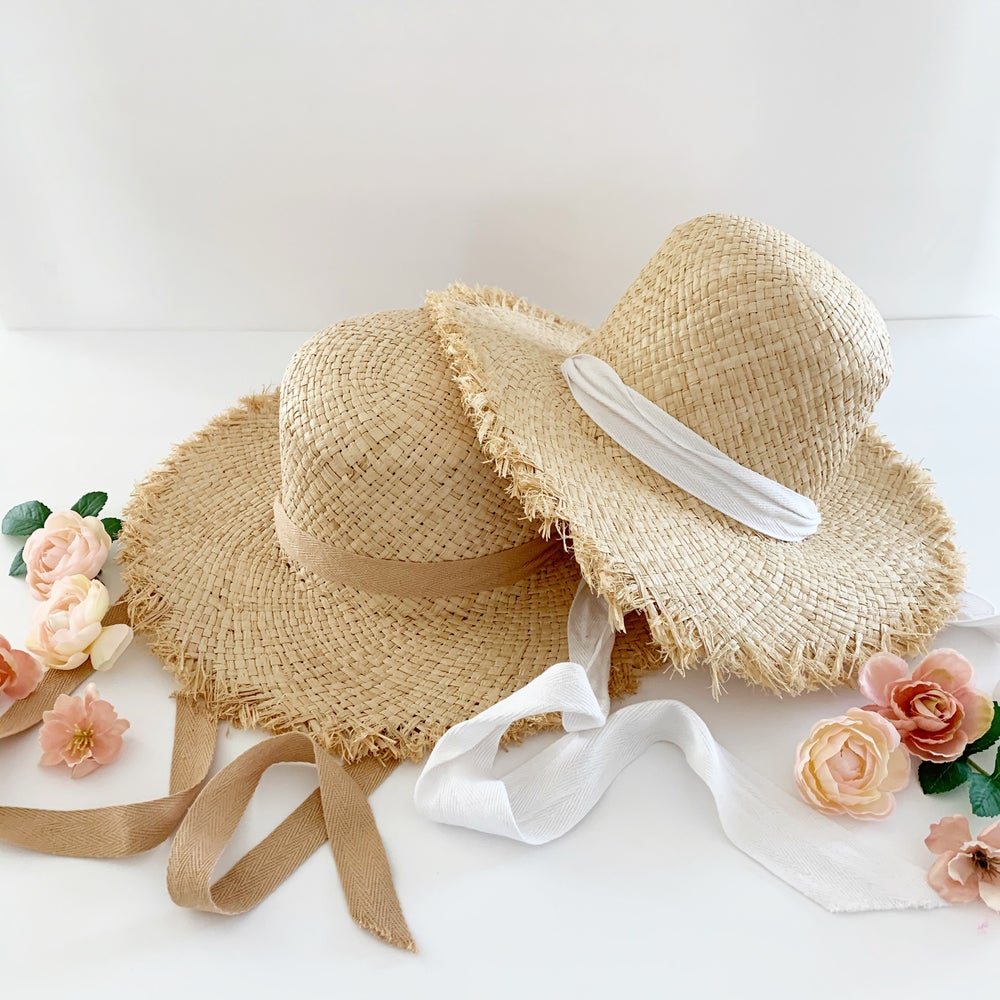 Image of Frayed Edge Floppy Straw Hat with Ribbon Ties