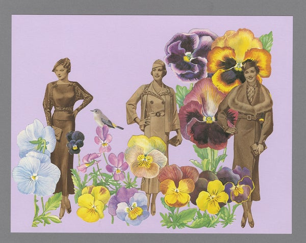 Image of Promenade through the pansies. Original paper collage.