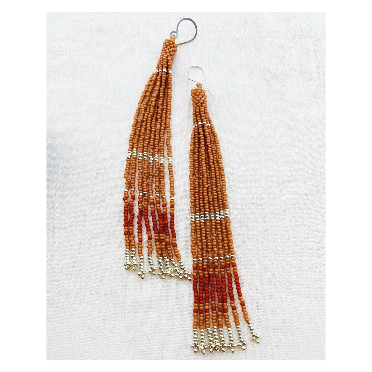 Image of Rosewood + Silver Cylinder Earrings