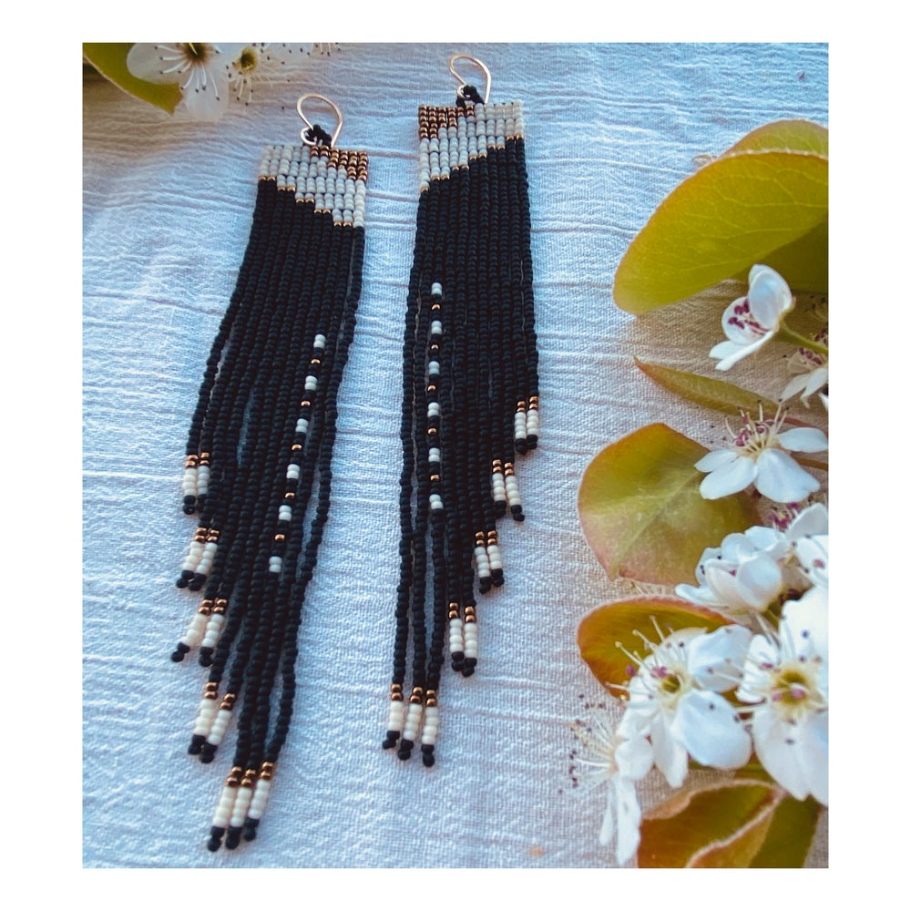 Image of Square Terrace Earrings Black + Bone