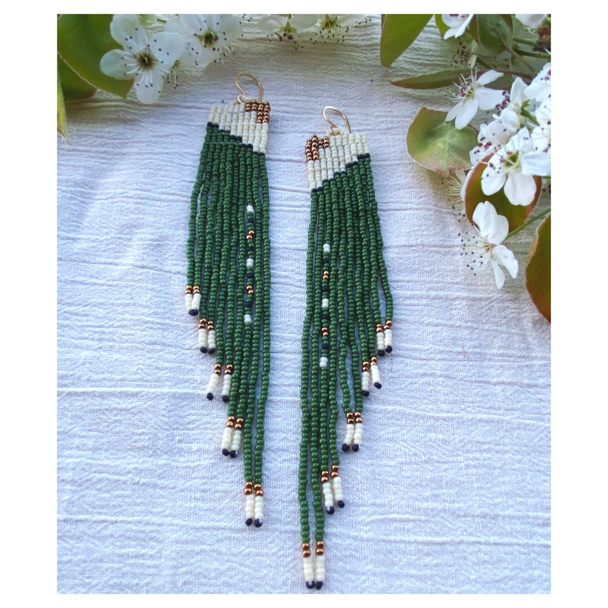 Image of Square Terrace Earrings in Evergreen