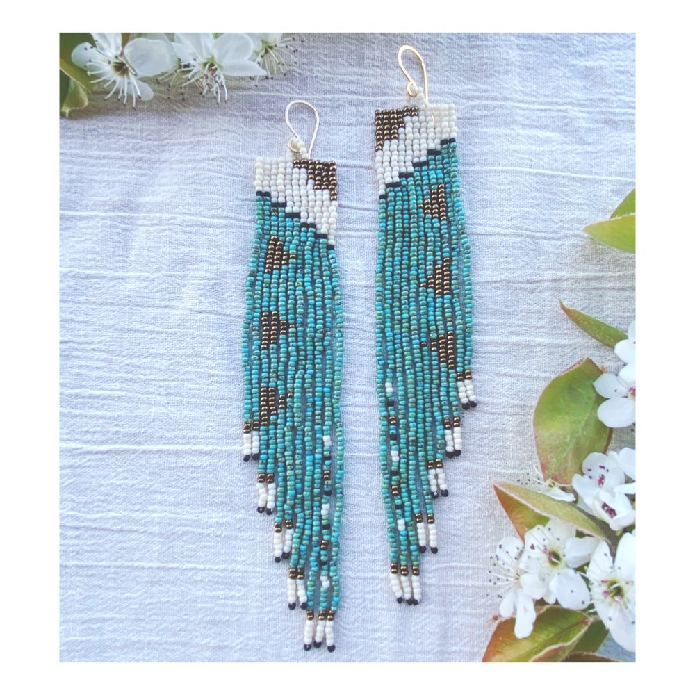 Image of Square Terrace Earrings in Turquoise