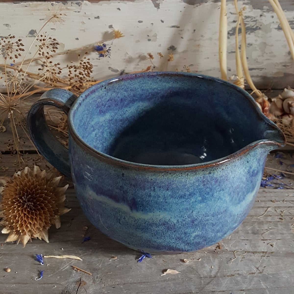 Image of Countertop-worthy Batter Bowl 3 cup with Tiny Duckling Pitcher: : Lupine (Periwinkle)
