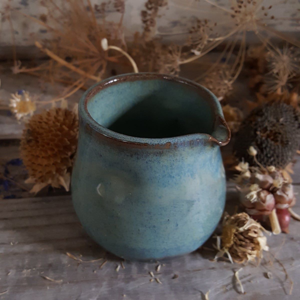 Image of Countertop-worthy Batter Bowl 4 cup with Tiny Duckling Pitcher: Glacial Waters (Turquoise)