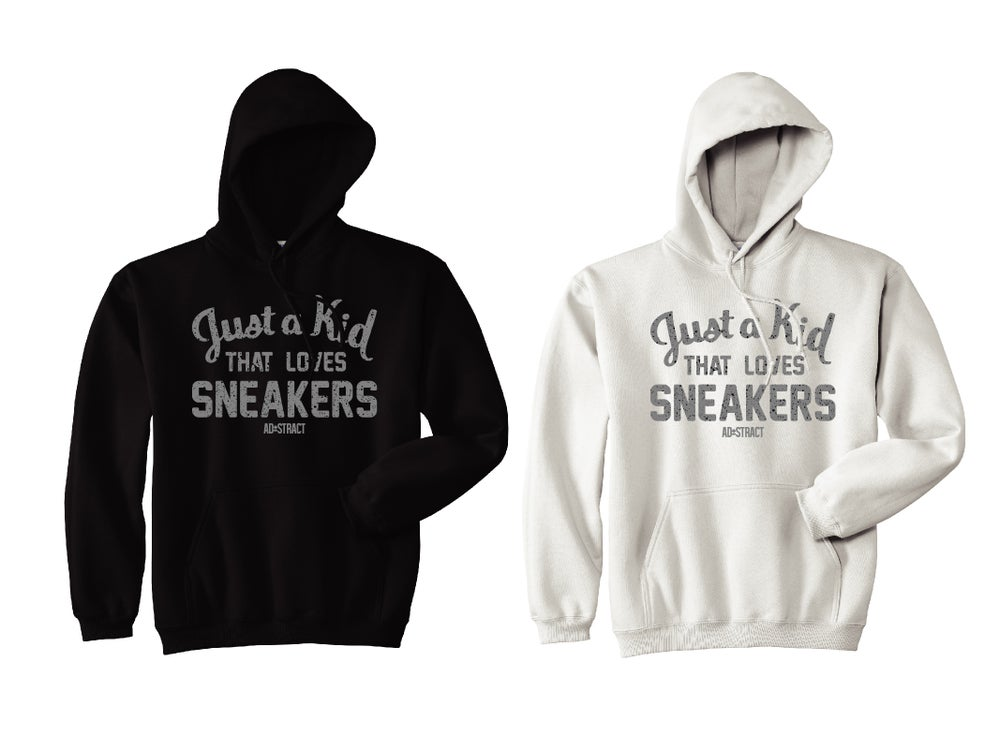 JUST A KID THAT LOVES SNEAKERS (UNIVERSITY BLUE - CEMENT PRINT)  HOODY