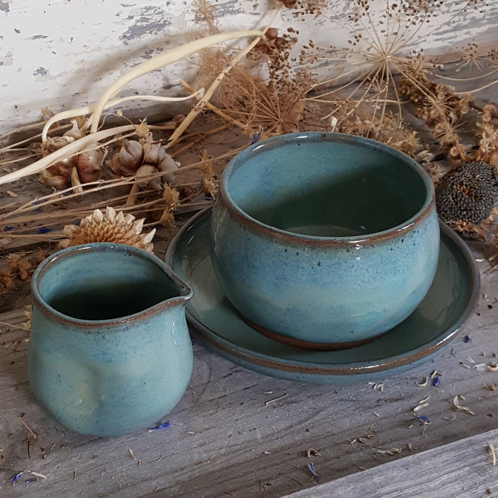 Image of Plate, Bowl, & Tiny Duckling Pitcher: Glacial Waters (Turquoise)