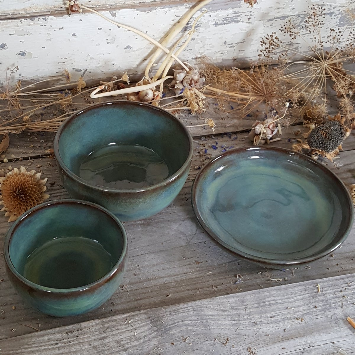 Image of Plate, Bowl, and a little Bowl set: Avalanche Gorge (Green)