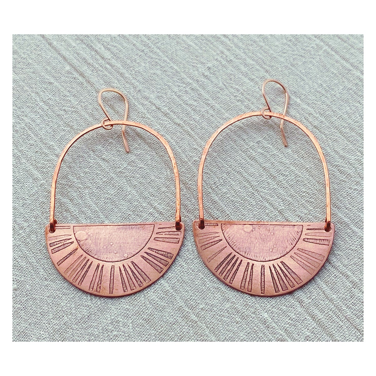 Image of Copper Sun Reflection Hoops