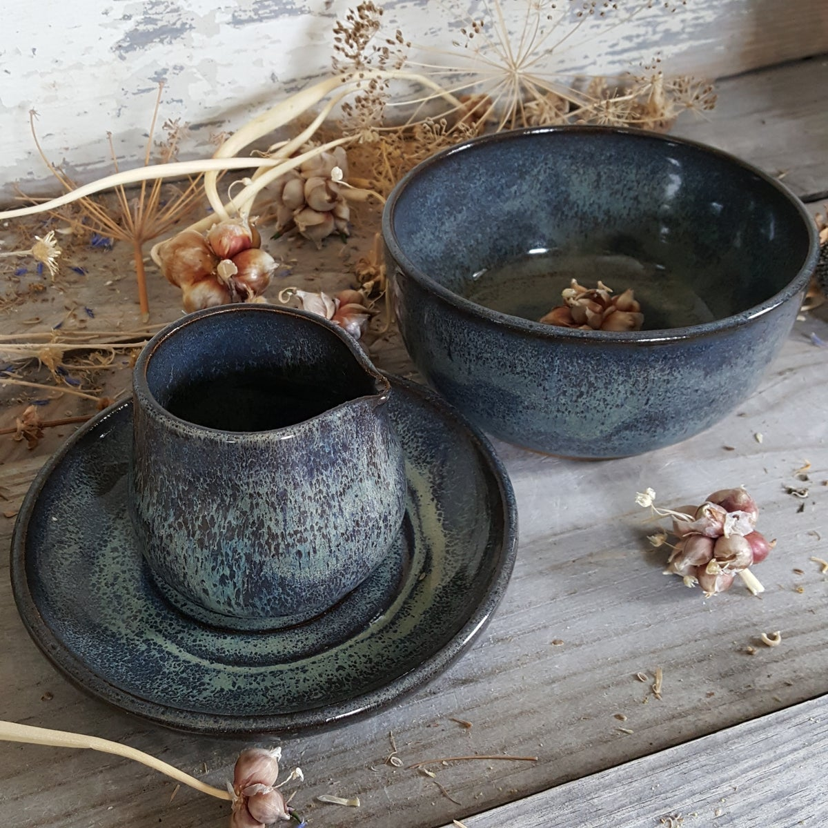 Image of Plate, Bowl, & Tiny Duckling Pitcher: Night Sky (Dark Blue)