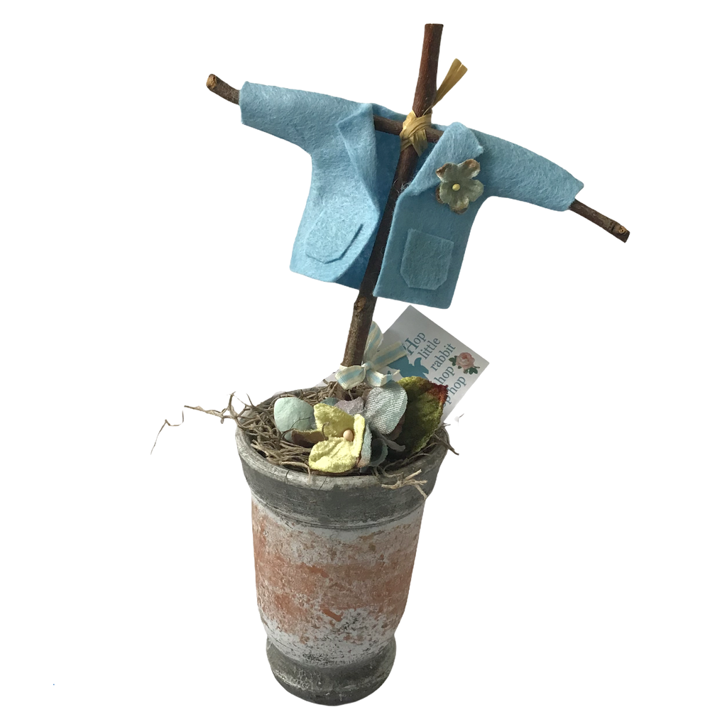 Image of Peter Rabbit's coat in a Vintage Style Pot with Flowers